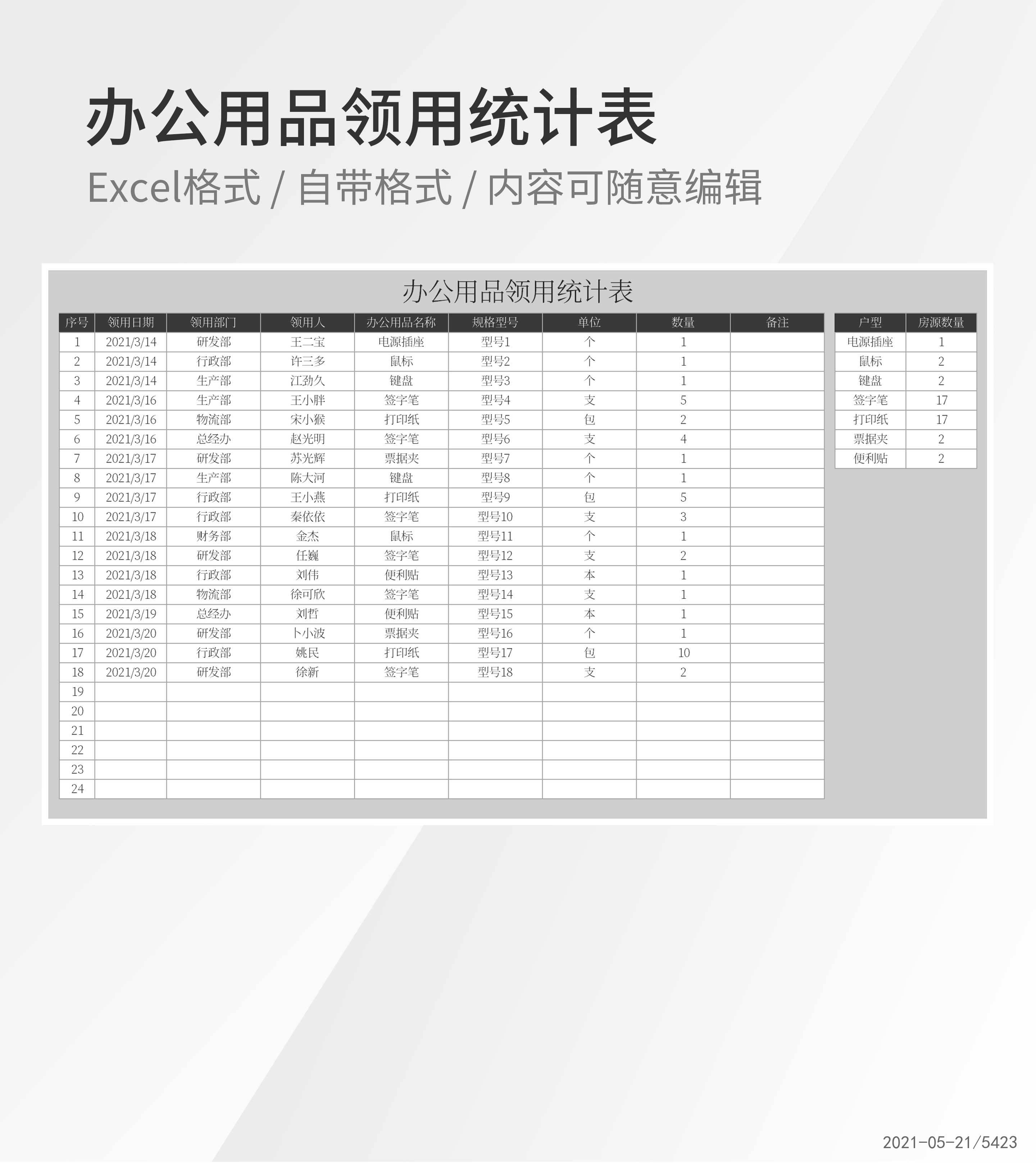 公司办公用品领用统计表Excel模板