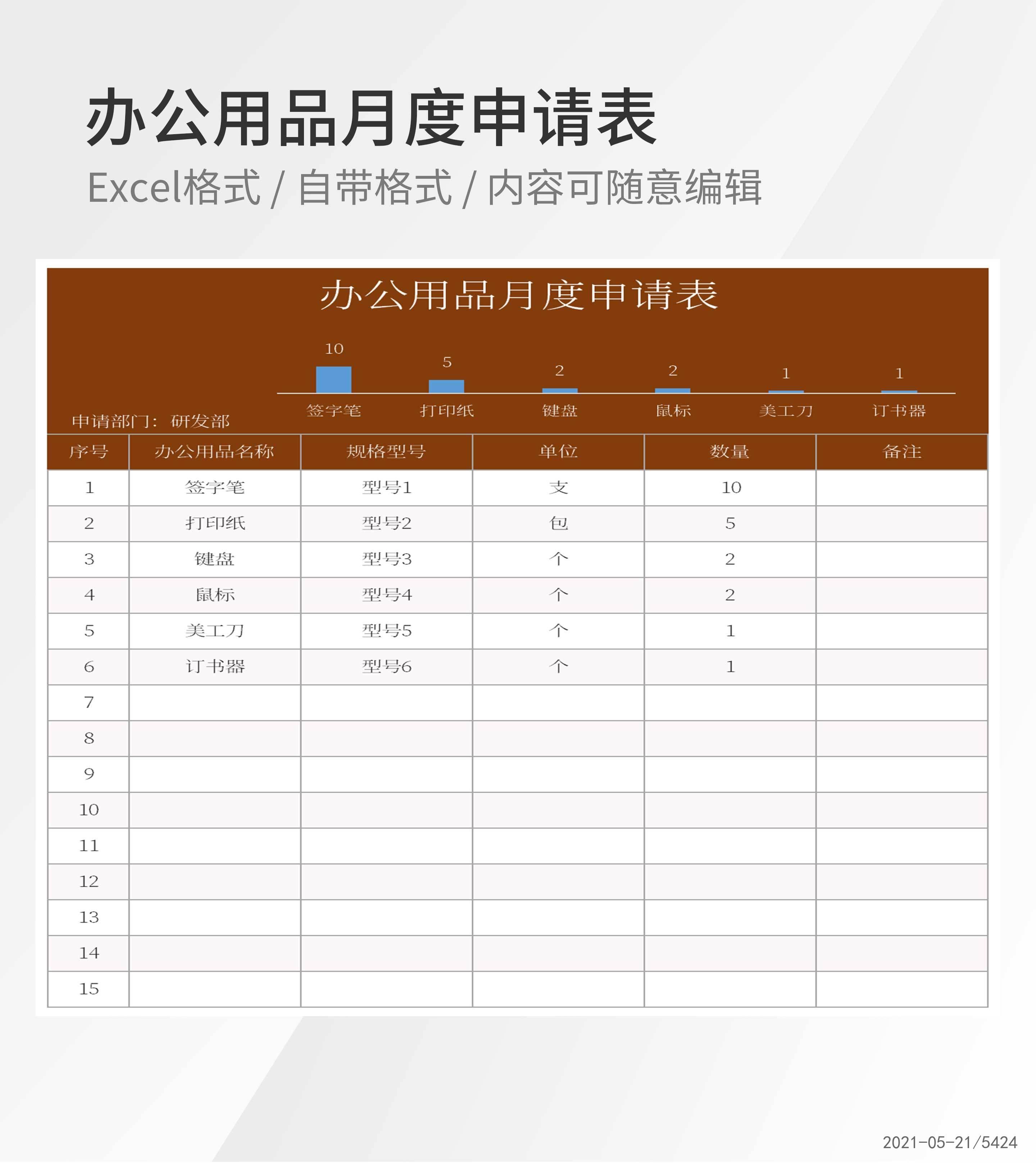 部门办公用品月度申请表Excel模板