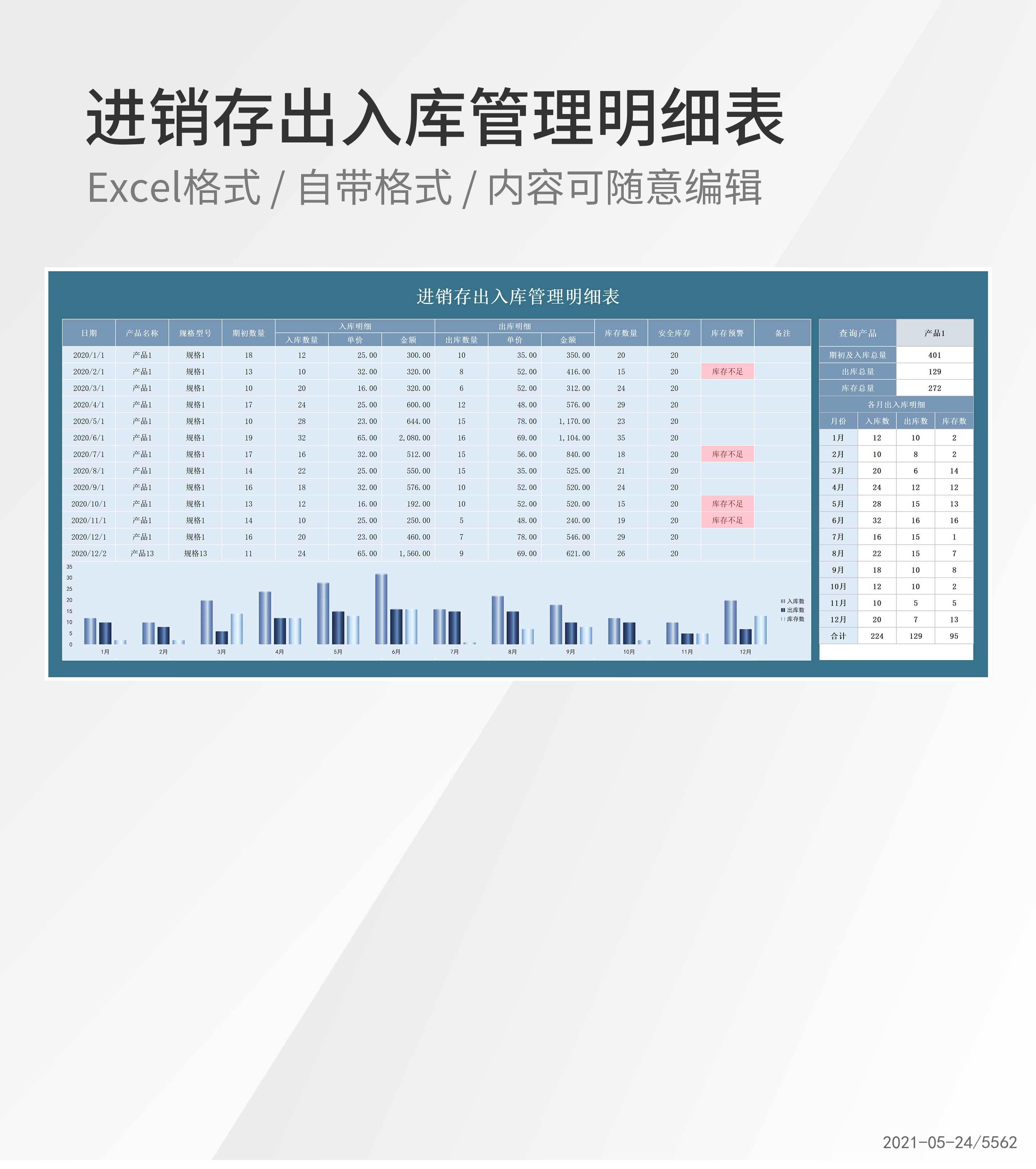 产品进销存出入库管理明细表Excel模板