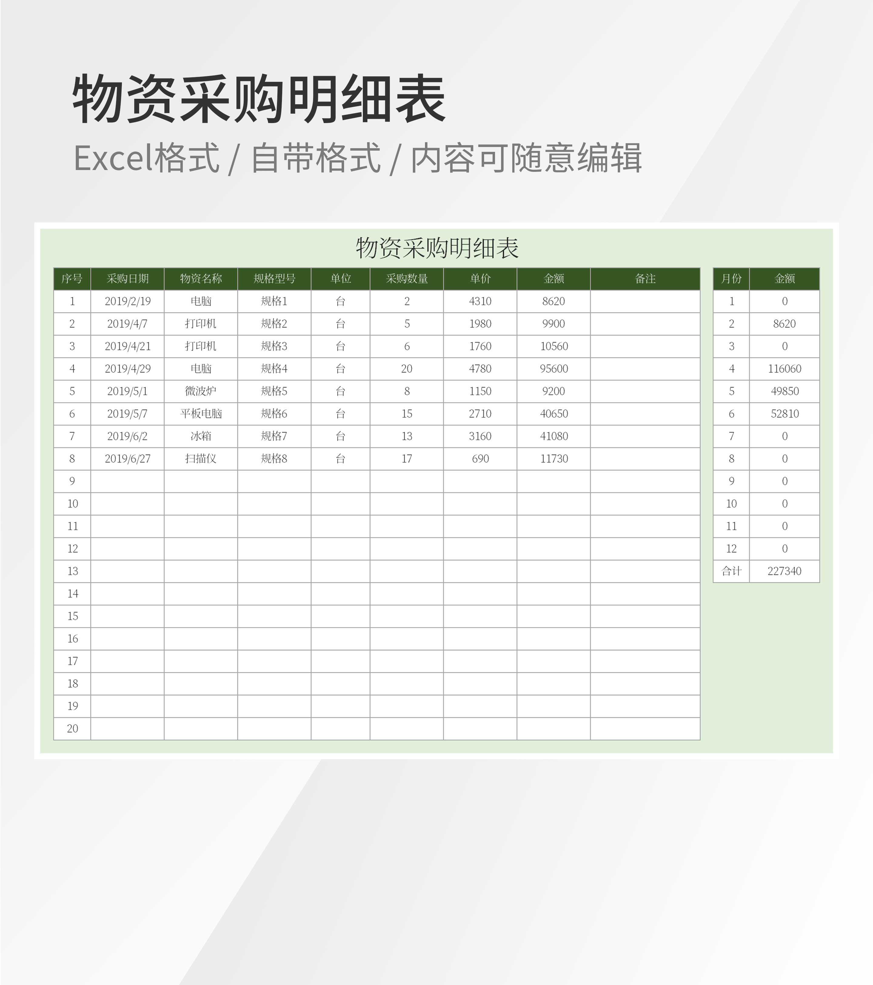 物资采购明细表Excel模板