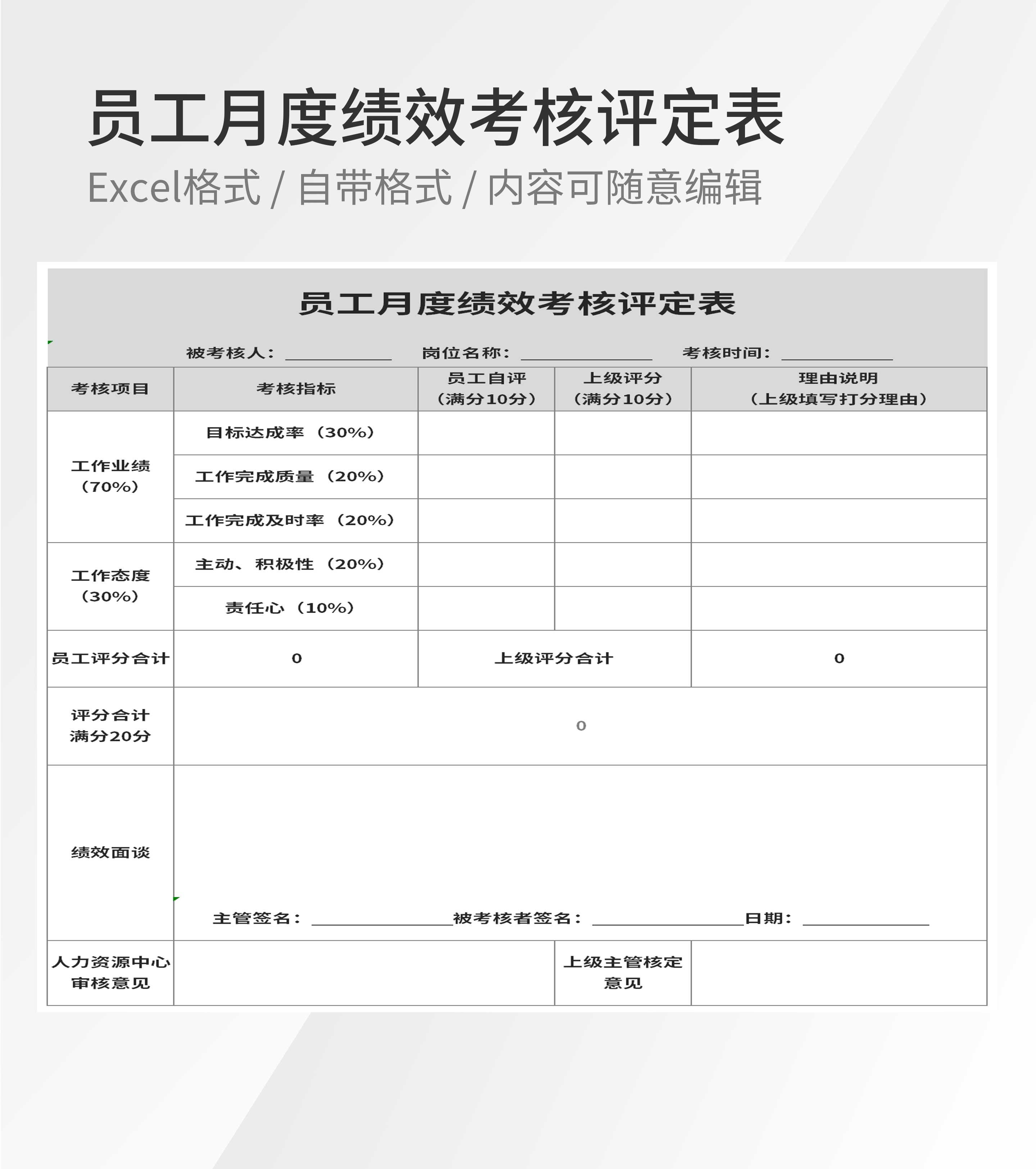 公司员工月度绩效考核评定表Excel模板