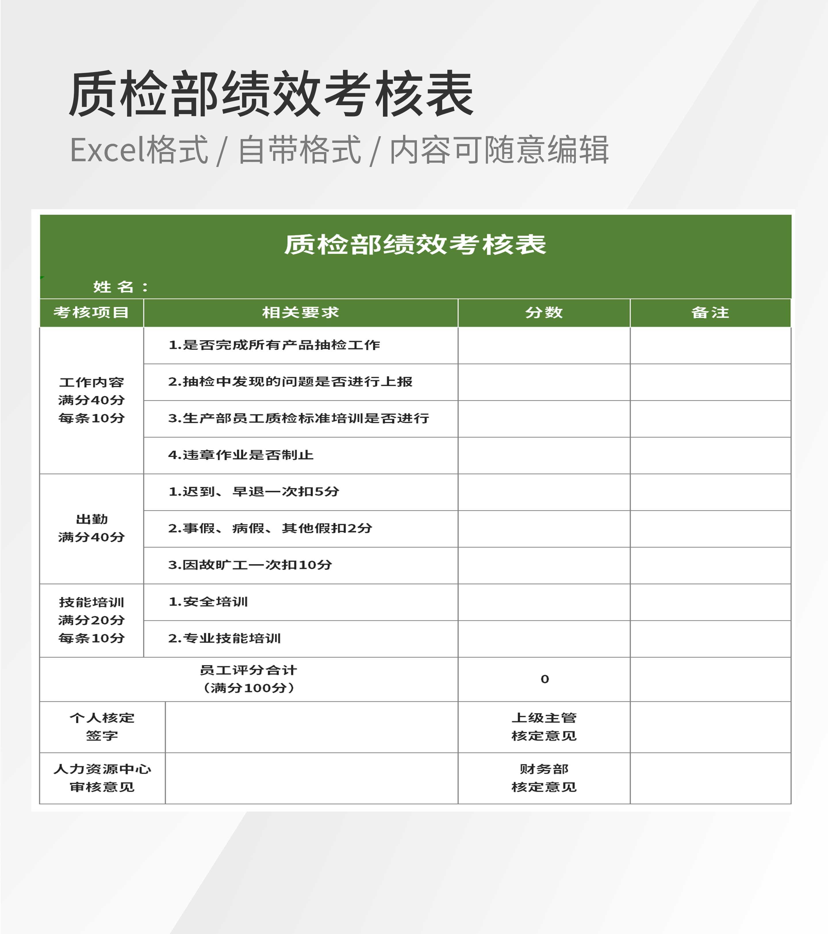 质检部员工绩效考核评分表Excel模板