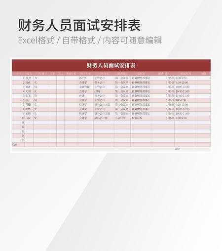 财务人员面试安排表格模板