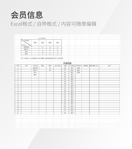 会员信息办卡登记表格模板