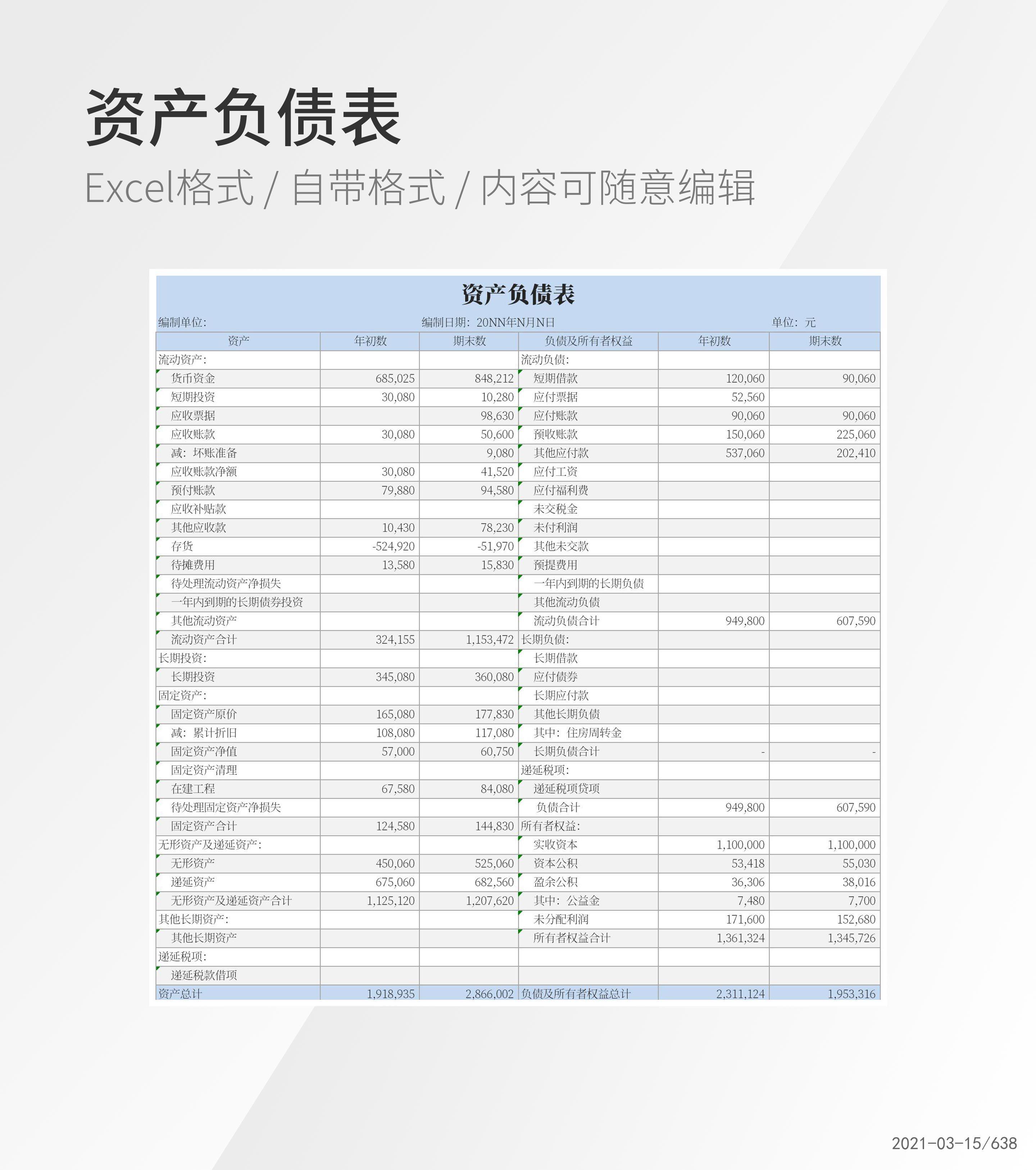资产负债表Excel模板
