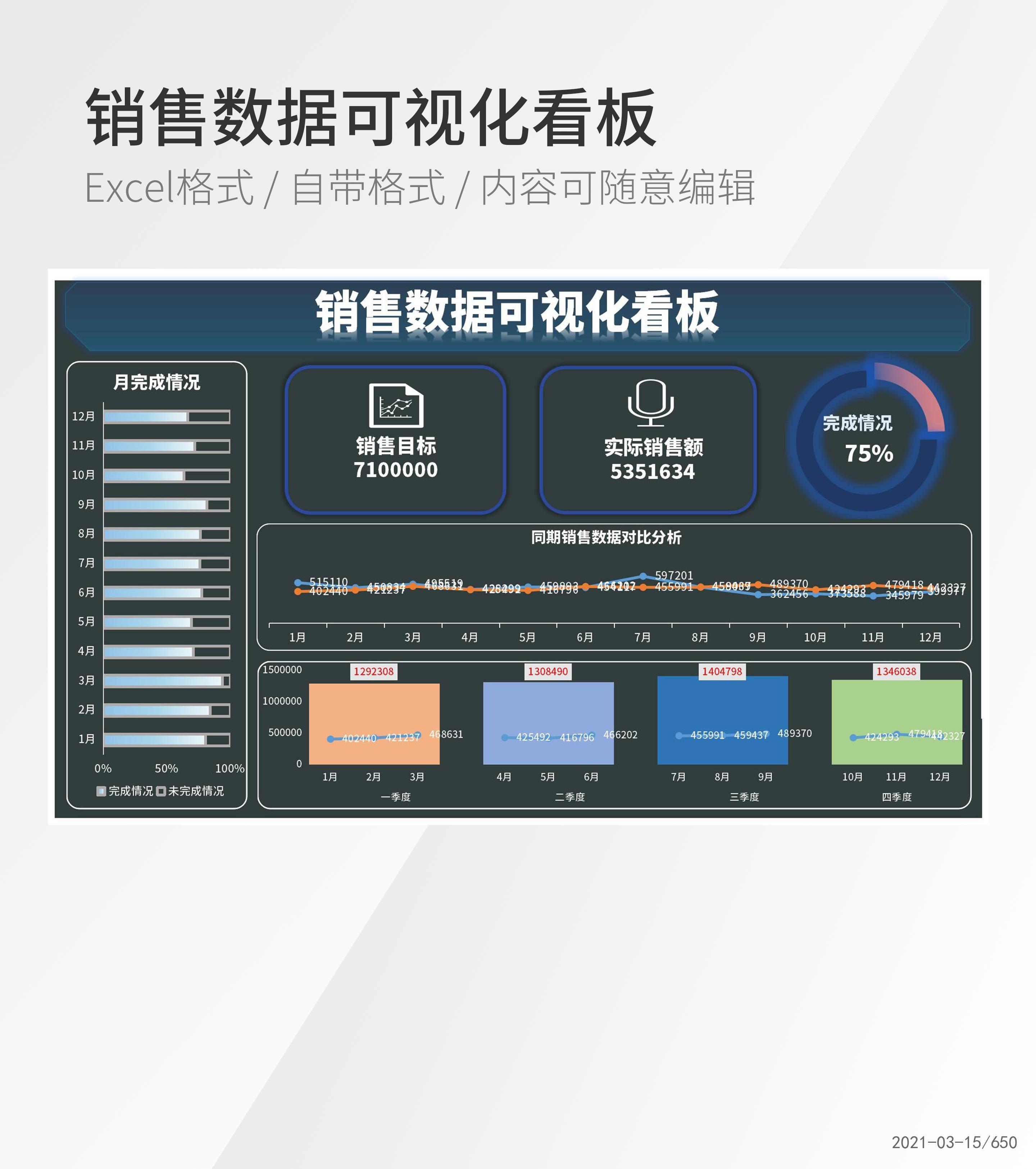 简约销售数据可视化看板Excel模板