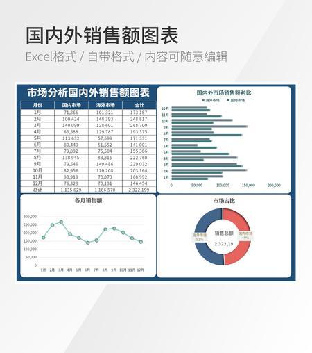 国内外销售数据可视化图表Excel模板