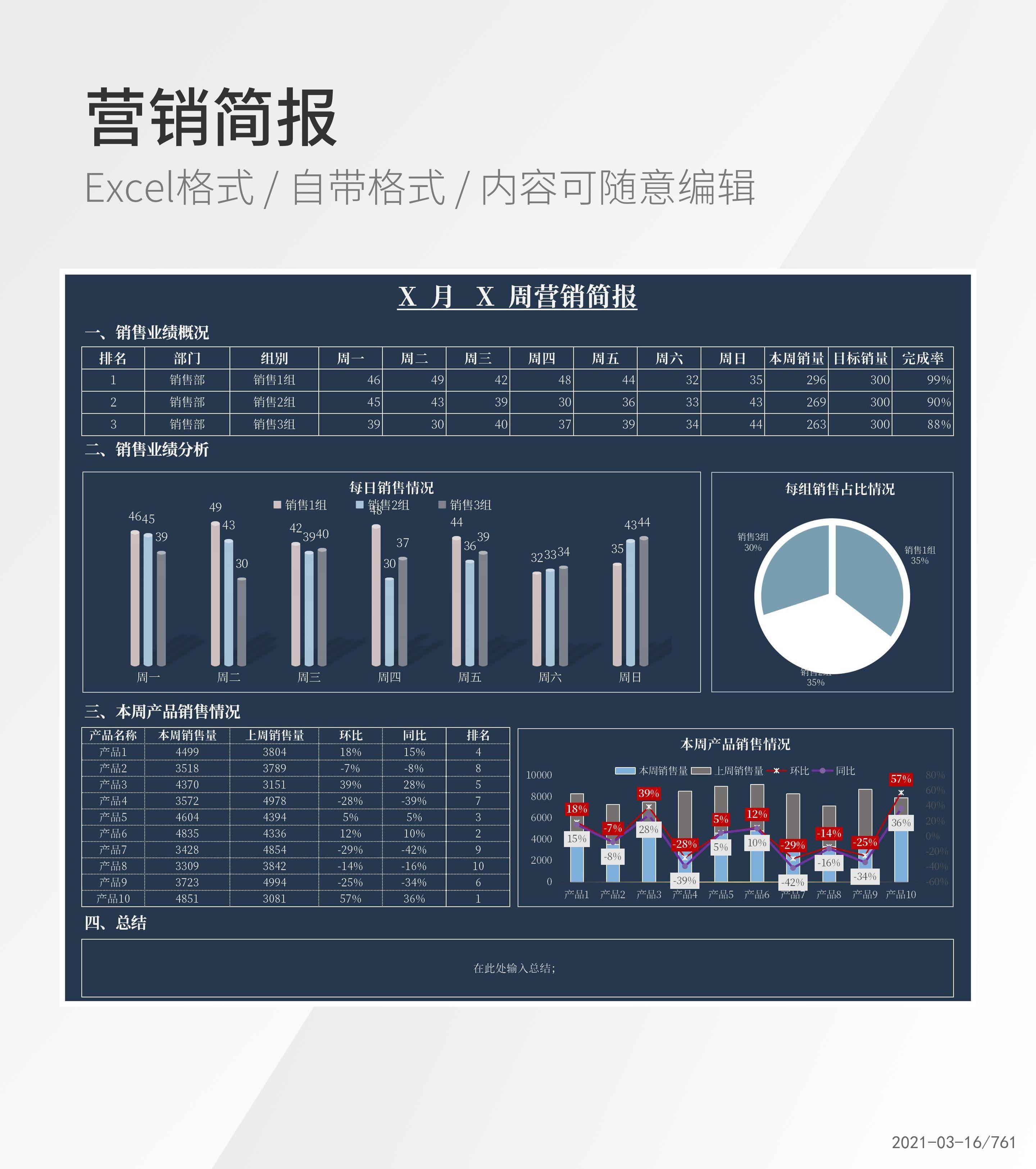 蓝色营销周报简报Excel模板