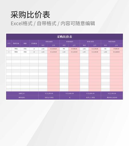 紫色采购比价表Excel模板