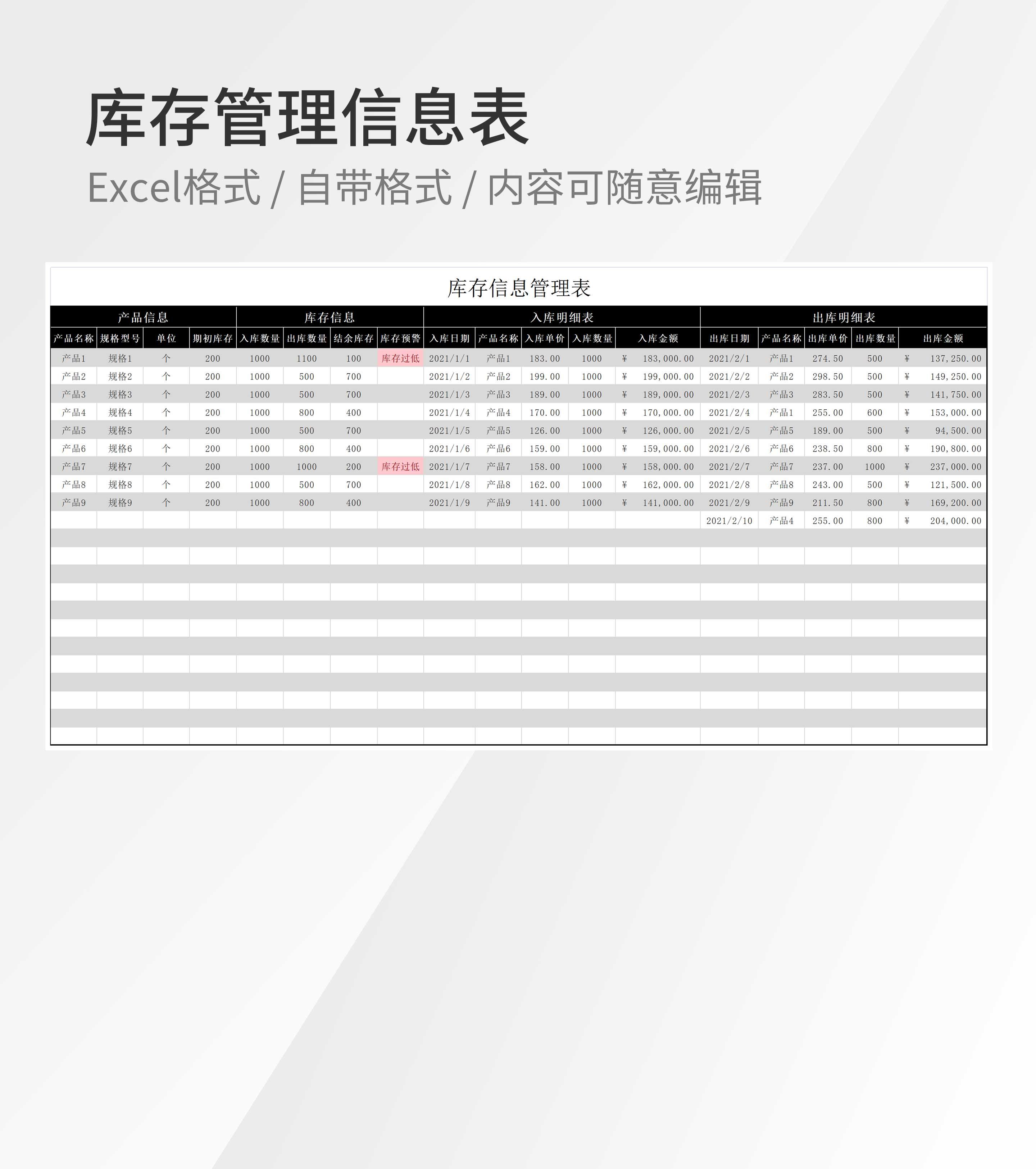库存管理信息表Excel模板