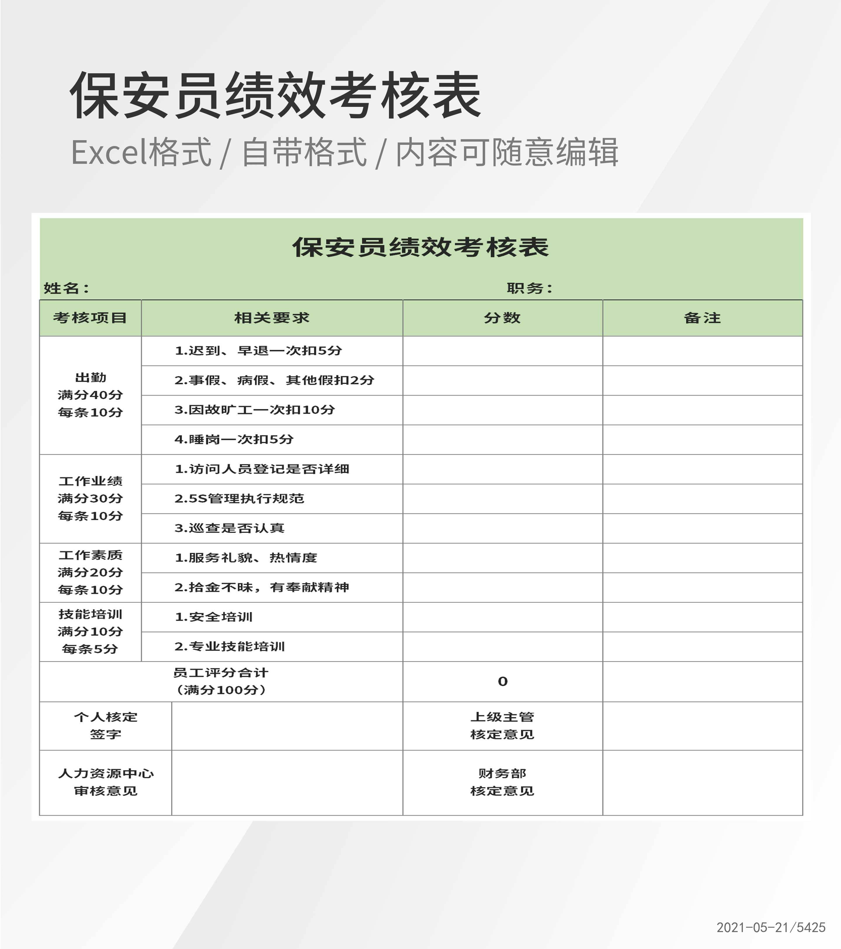 公司保安员绩效考核评分表Excel模板