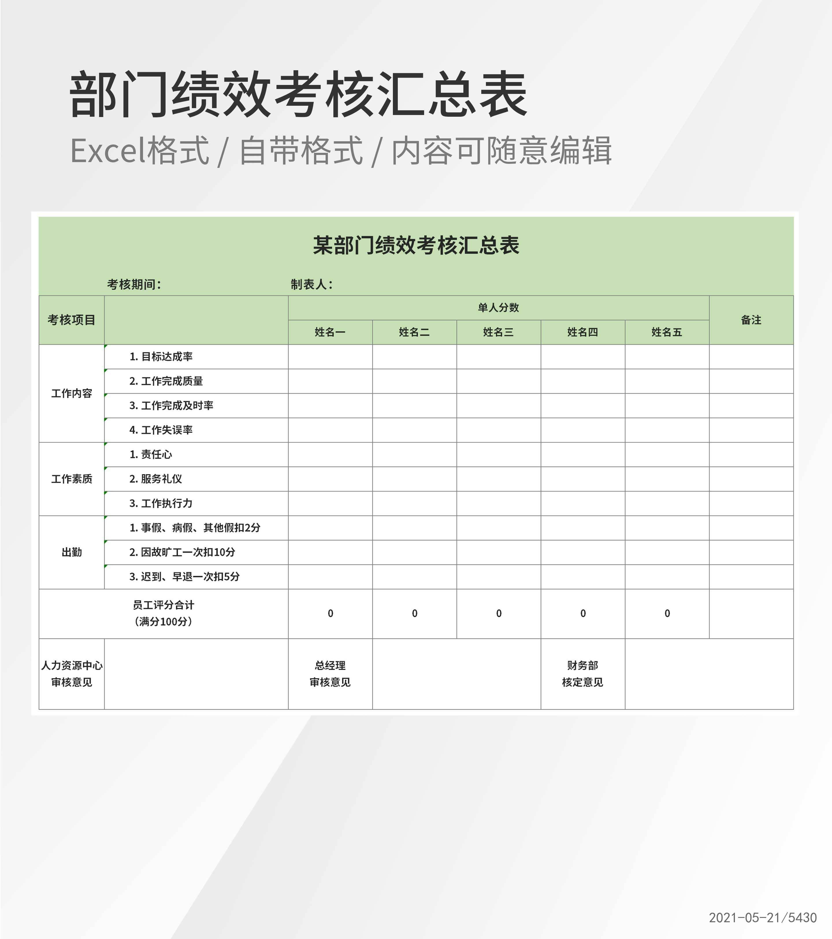 部门绩效考核成绩汇总表Excel模板
