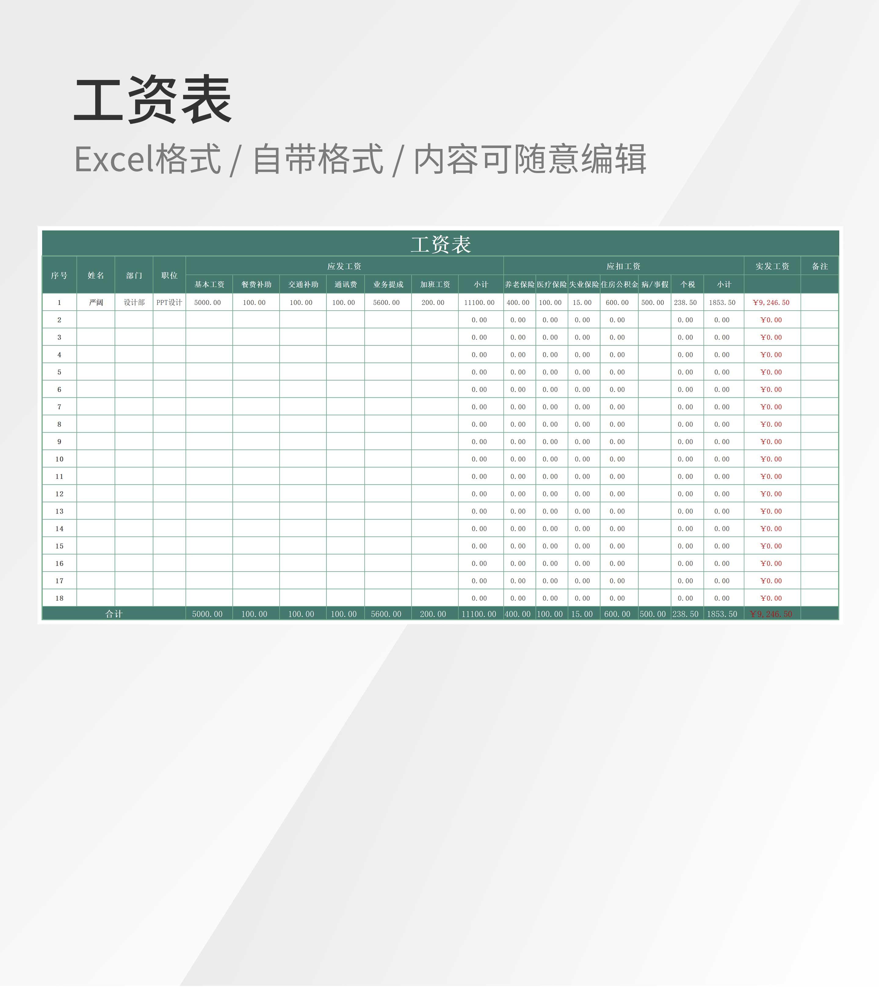公司全体员工工资表Excel模板