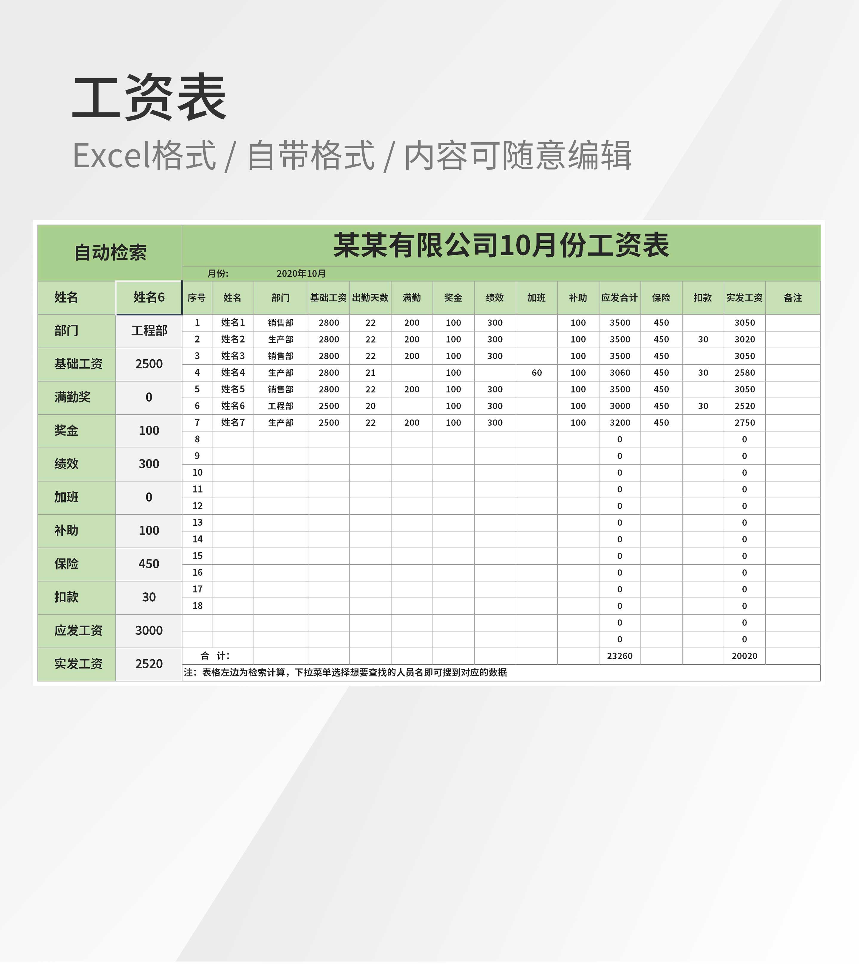 月度工资统计明细表Excel模板