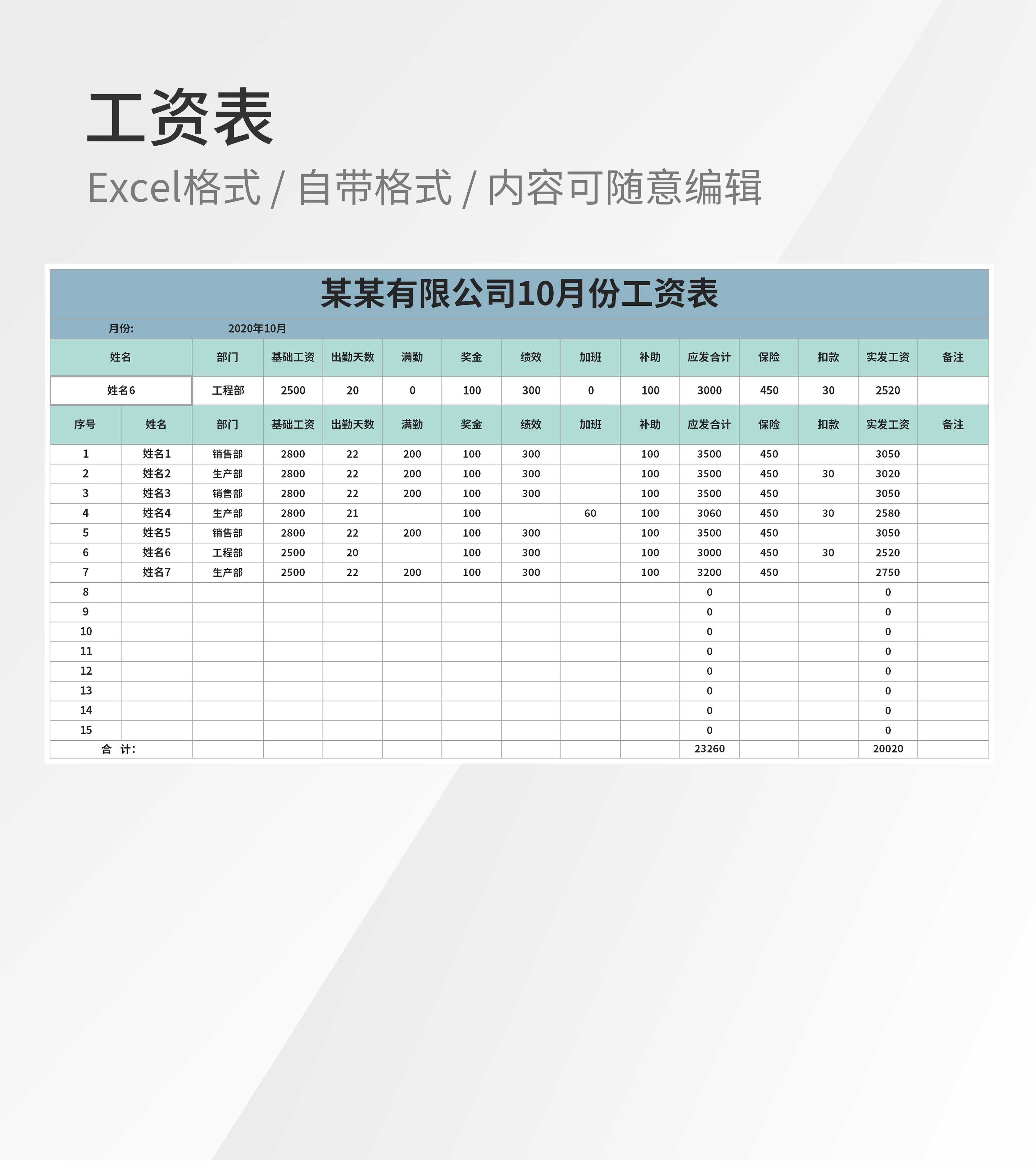 企业员工工资月度明细表Excel模板