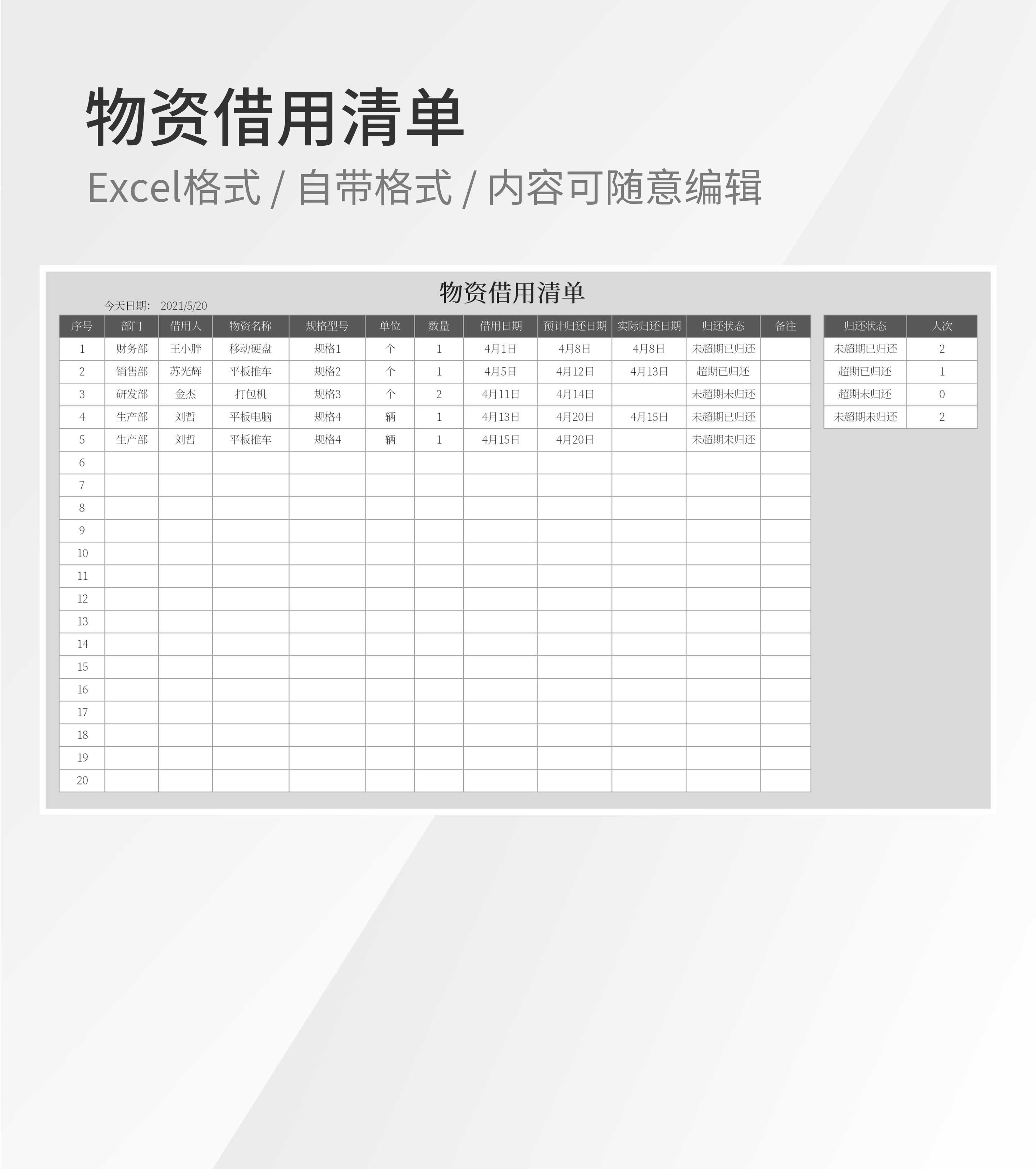 公司部门物资借用清单Excel模板