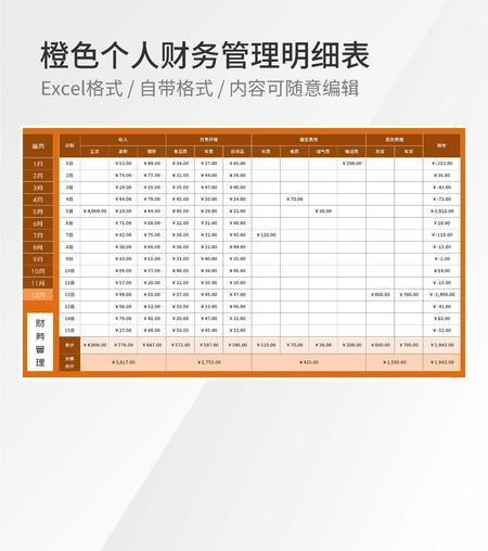 橙色个人财务管理明细表Excel模板