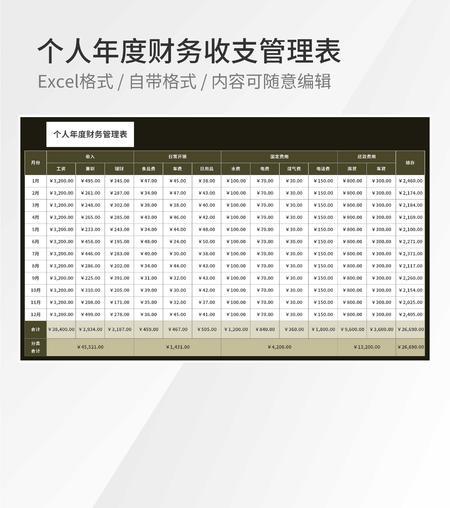 个人年度财务收支管理表Excel模板